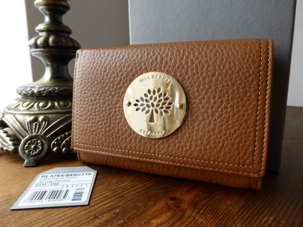 Mulberry Daria French Purse in Oak Spongy Pebbled Leather - New