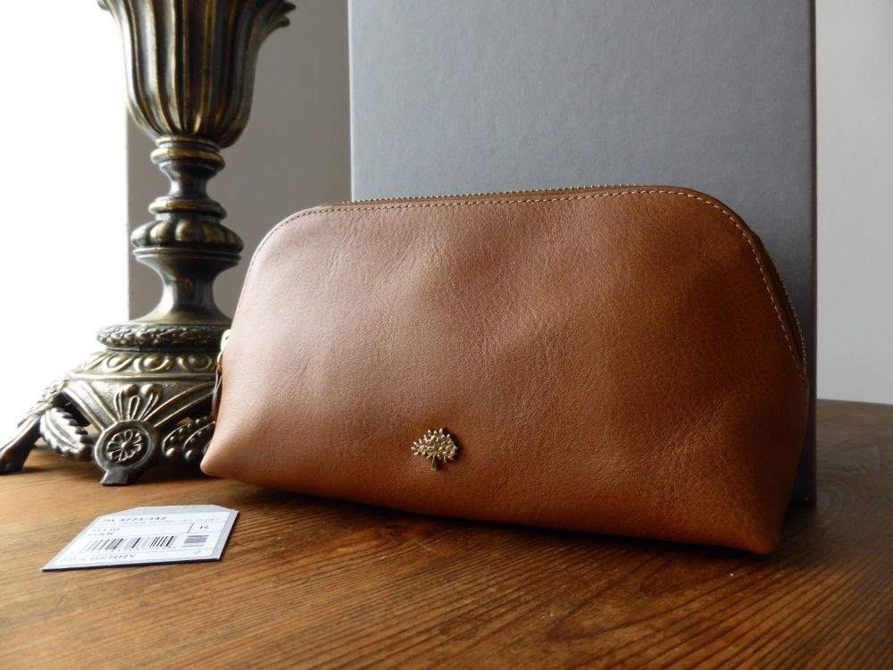 Mulberry Tree Make Up Bag in Oak Natural Leather - New
