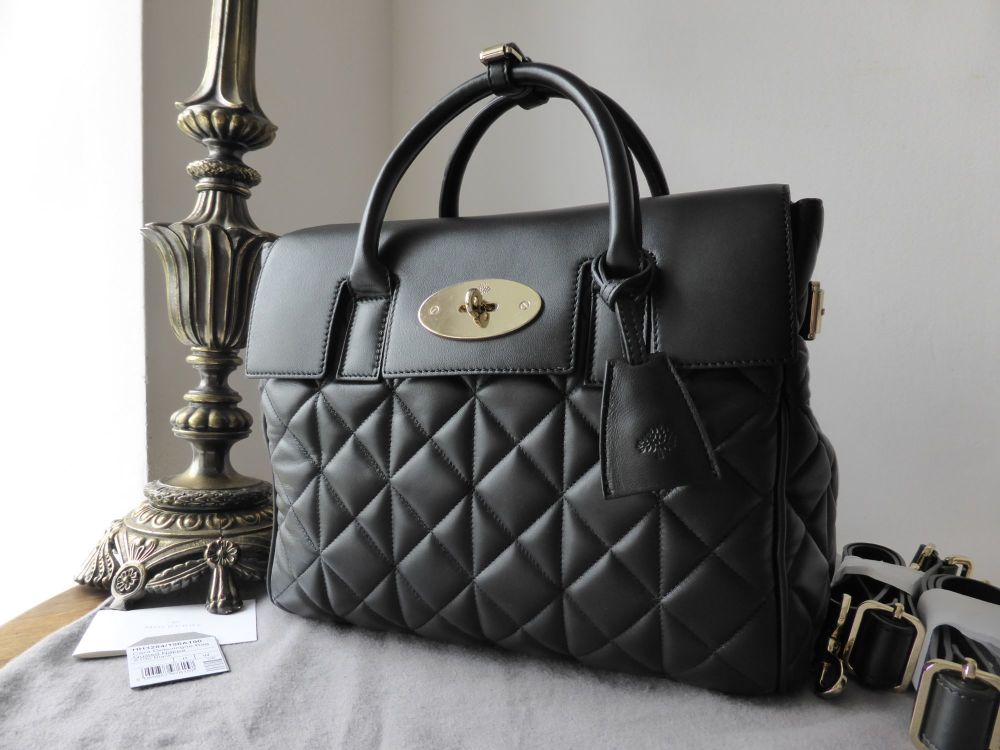 Mulberry Cara Delevingne Medium Bag in Black Quilted Nappa - New
