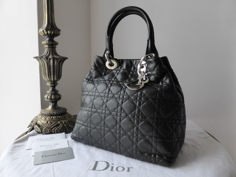 Dior Soft Tote in Black Lambs Leather with Silver Hardware