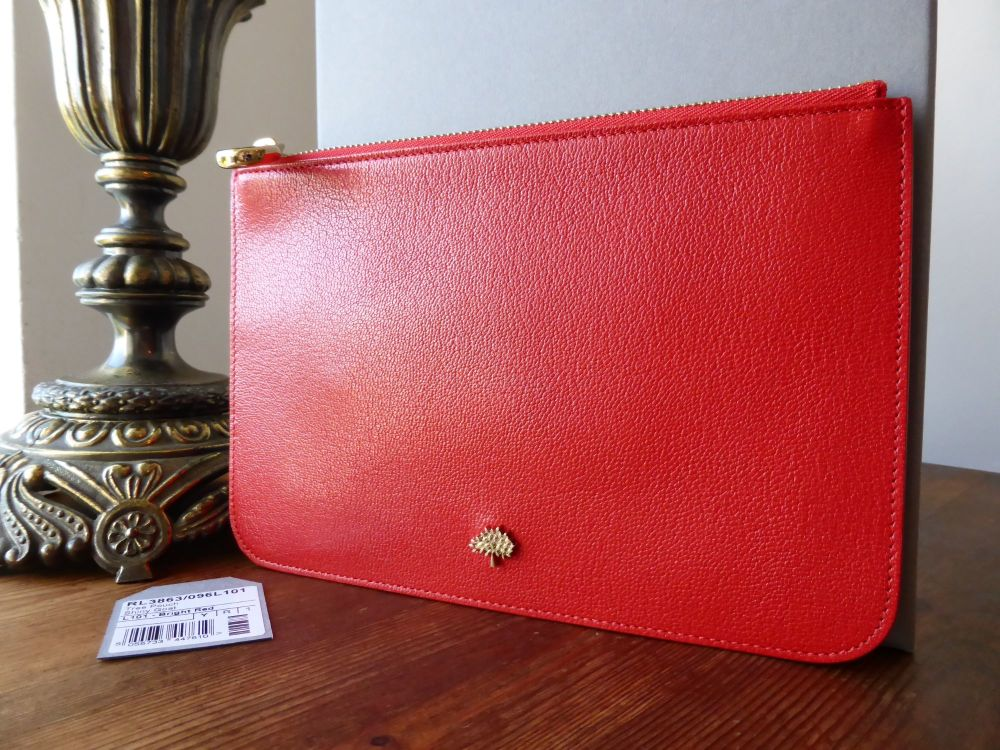 Mulberry Tree Slim Makeup Pouch in Red Goatskin  - New