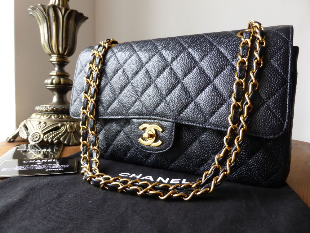 Chanel Classic 2.55 Medium Flap in Navy Blue Caviar with Gold Hardware