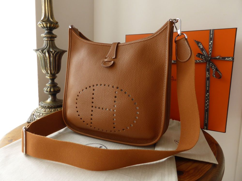 Hermes Evelyne III PM in Gold Clemence Leather Palladium Hardware