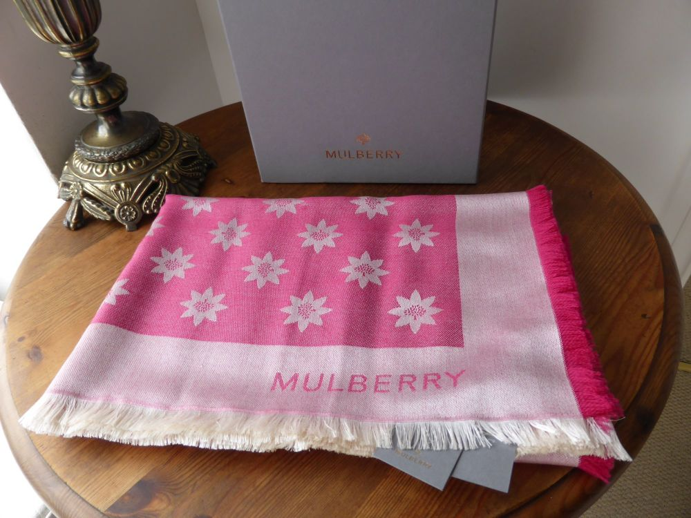 Mulberry Monogram Star Jacquard Scarf in Cerise Silk & Wool - New