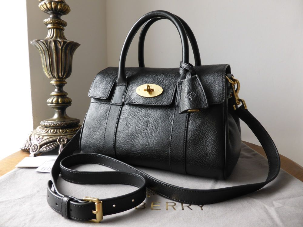 Mulberry Small Bayswater Satchel in Black Natural Leather - As New