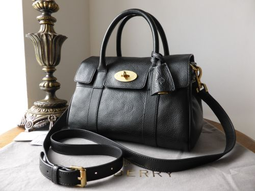 Mulberry Small Bayswater Satchel in Black Natural Leather - As New 761ac8a6dd0d6