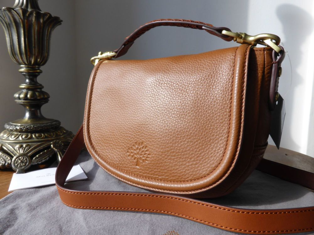 Mulberry Small Effie Satchel in Oak Spongy Pebbled Leather - New