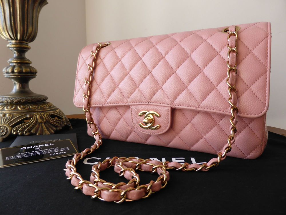 Chanel Classic 2.55 Medium Flap in Baby Pink Caviar with Gold Hardware