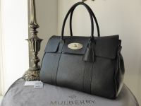 Mulberry Bayswater in Black Soft Grain Leather with Silver Nickel Hardware - New