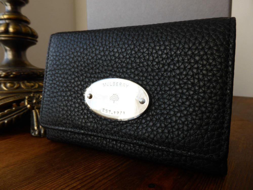 Mulberry French Purse in Black Soft Grain Leather with Silver Nickel Hardwa