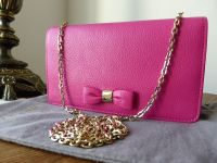Mulberry Bow Clutch WOC in Mulberry Pink Glossy Goat  - New