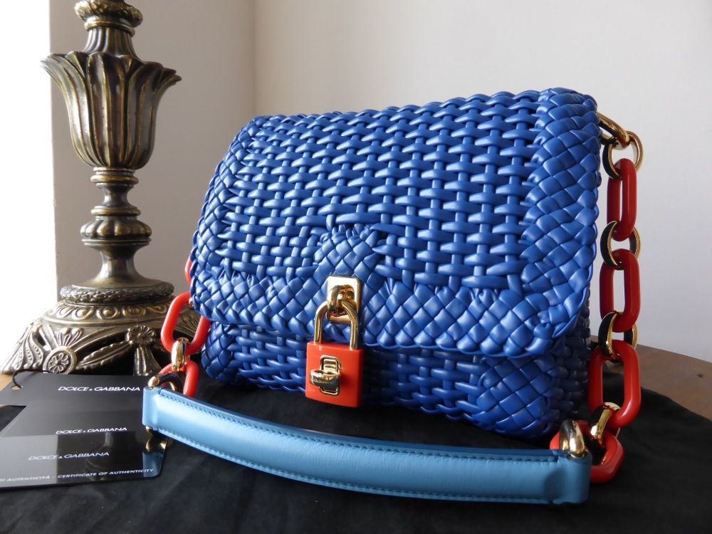 Dolce & Gabbana Dolce Bonita Shoulder Bag in Cobalt Blue Woven Leather - As