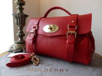 Mulberry Regular Alexa in Bright Red Polished Buffalo