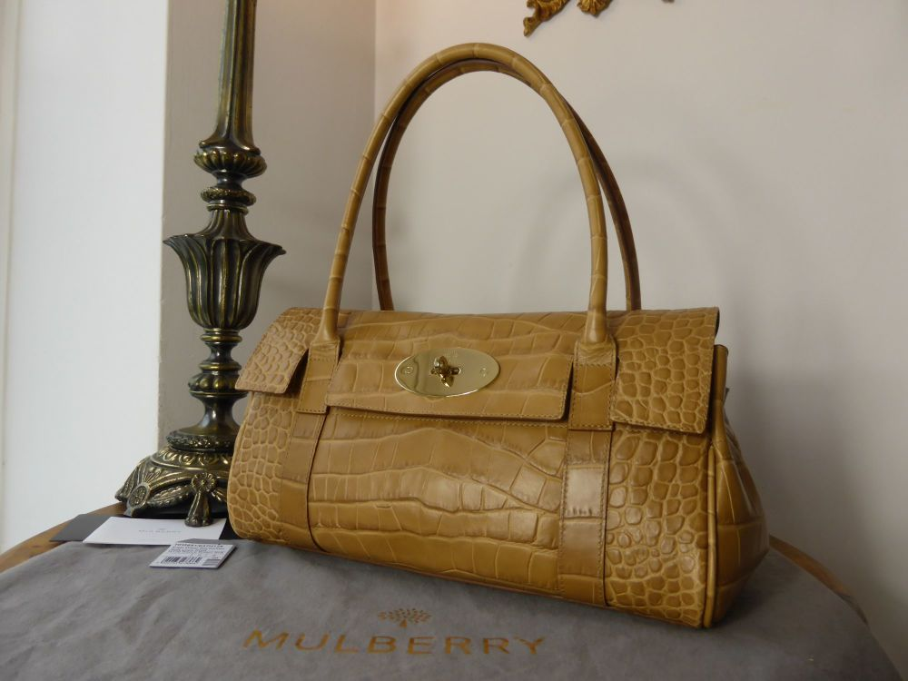 Mulberry East West Bayswater in Biscuit Brown Soft Croc Print