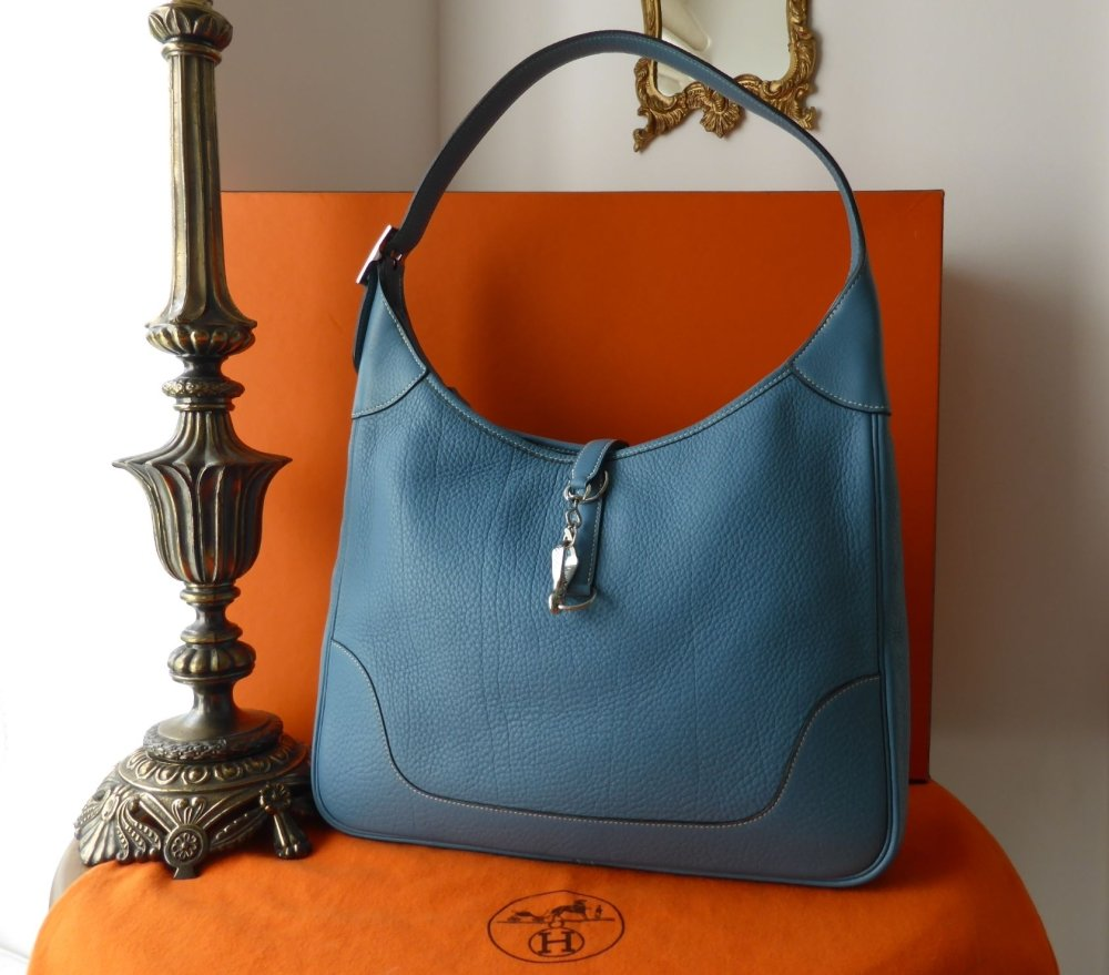 Hermes Trim II GM (35cm) in Blue Jean Togo with Palladium Hardware
