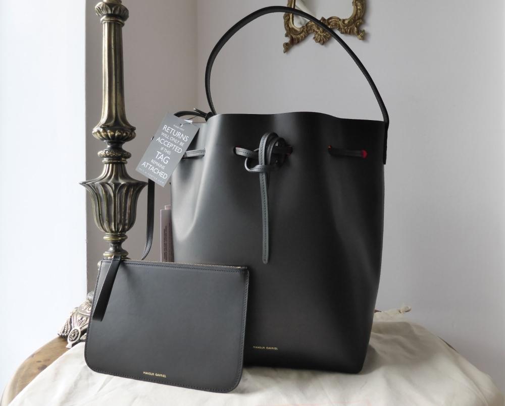 Mansur Gavriel Bucket Bag in Black with Bright Red Interior - New
