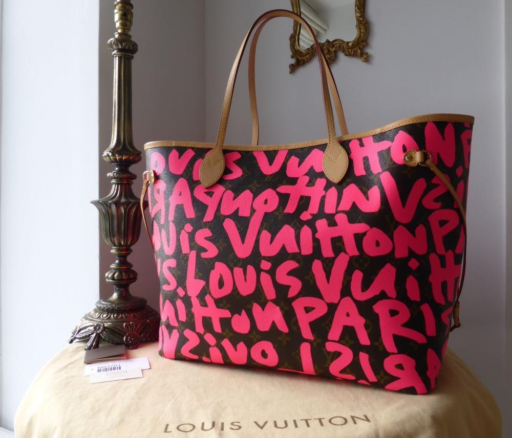 Louis Vuitton Limited Edition Neverfull GM Monogram Graffitti Fuchsia Step