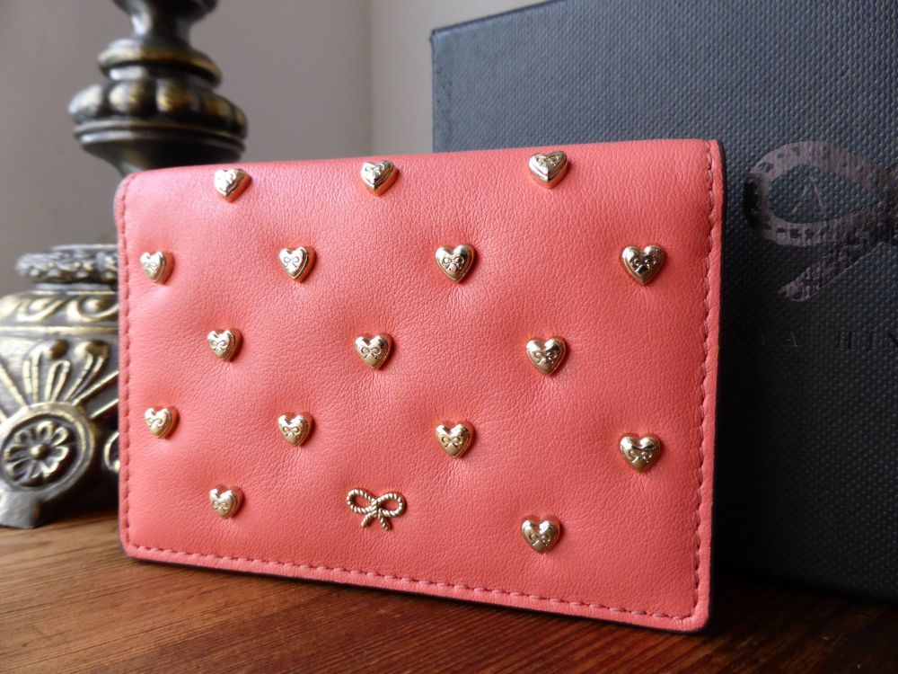 Anya Hindmarch Joss Heart Studded Card Case in Coral Velvet Calf - As New