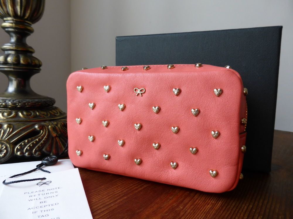 Anya Hindmarch Joss Heart Studded Zip Pouch in Coral Velvet Calf - New