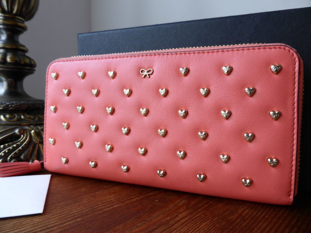 Anya Hindmarch Joss Heart Studded Zip Around Continental Wallet in Coral Ve