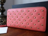 Anya Hindmarch Joss Heart Studded Zip Around Continental Wallet in Coral Velvet Calf