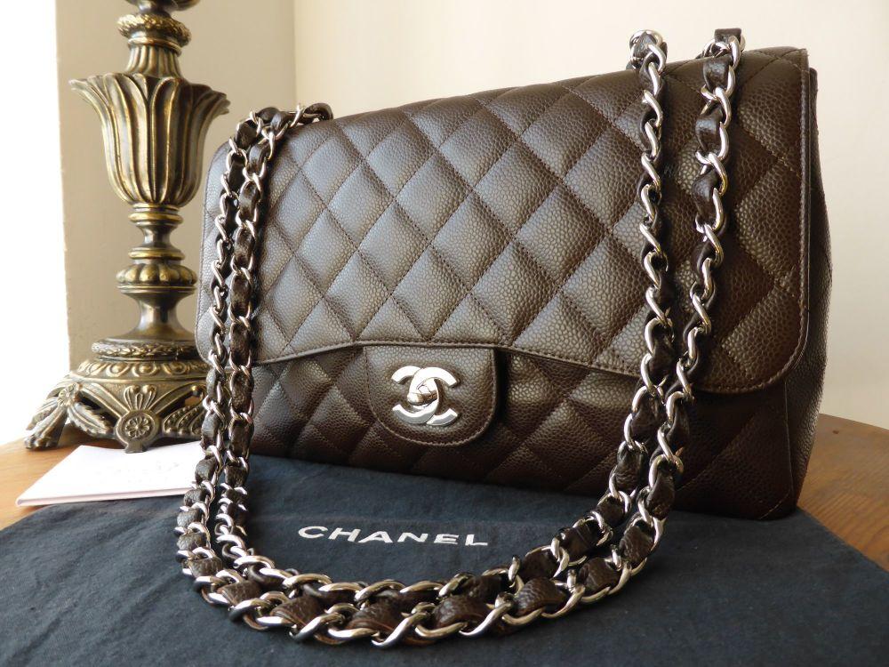 c0159cf5d0ad06 Chanel Jumbo Single Flap in Chocolate Caviar with Silver Hardware ...