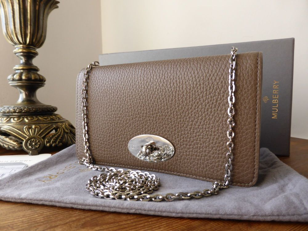 Mulberry Bayswater Clutch Wallet in Taupe Soft Grain with Silver Hardware -