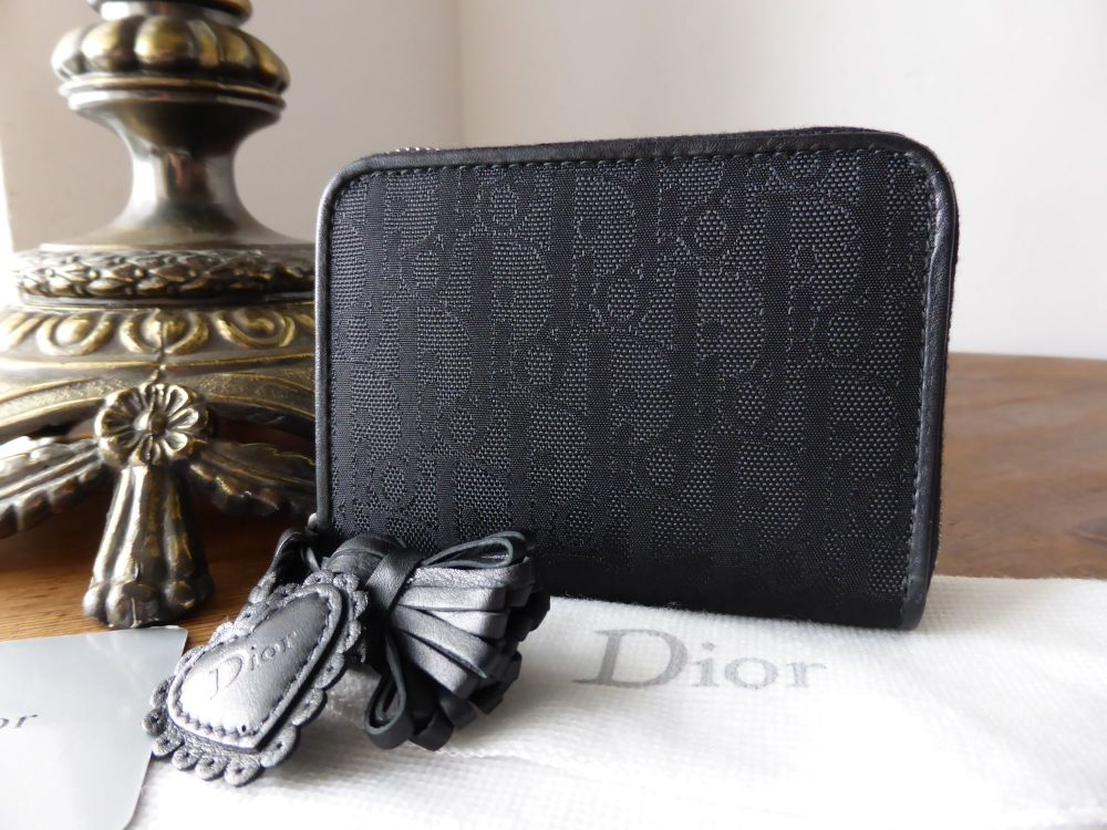 Dior Ethnic Compact Zip Around Coin Purse in Black Signature