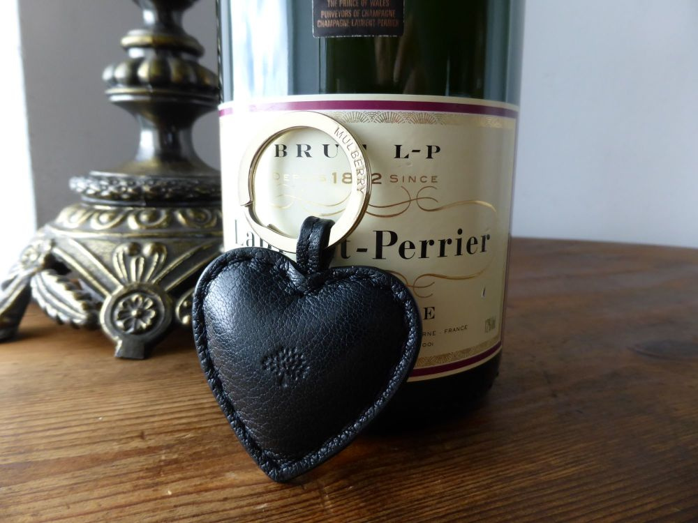 Mulberry Heart Keyring in Black Natural Leather with Silver Hardware