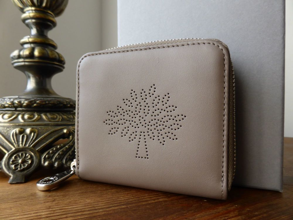 Mulberry Blossom Zip Around Compact Purse in Taupe Calf Nappa - New