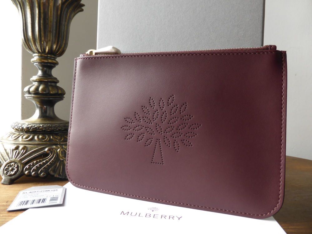 Mulberry Blossom Pouch in Oxblood Calf Nappa New - New