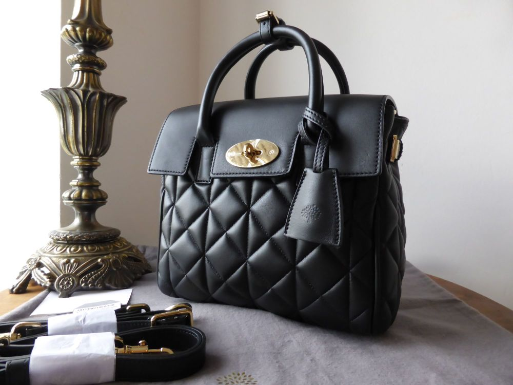 Mulberry Mini Cara Delevingne Bag in Black Quilted Lamb Nappa - New