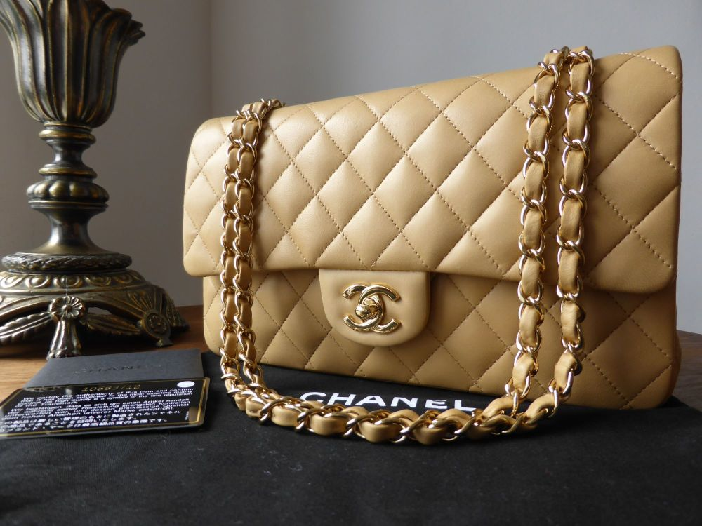 Chanel Timeless Classic 2.55 Medium Flap Bag in Beige Lambskin with Gold Ha
