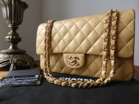 Chanel Timeless Classic 2.55 Medium Flap Bag in Beige Lambskin with Gold Hardware