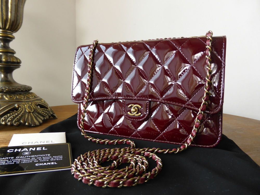 Chanel Wallet on Chain Quilted Flap Bag in Burgundy Patent - New