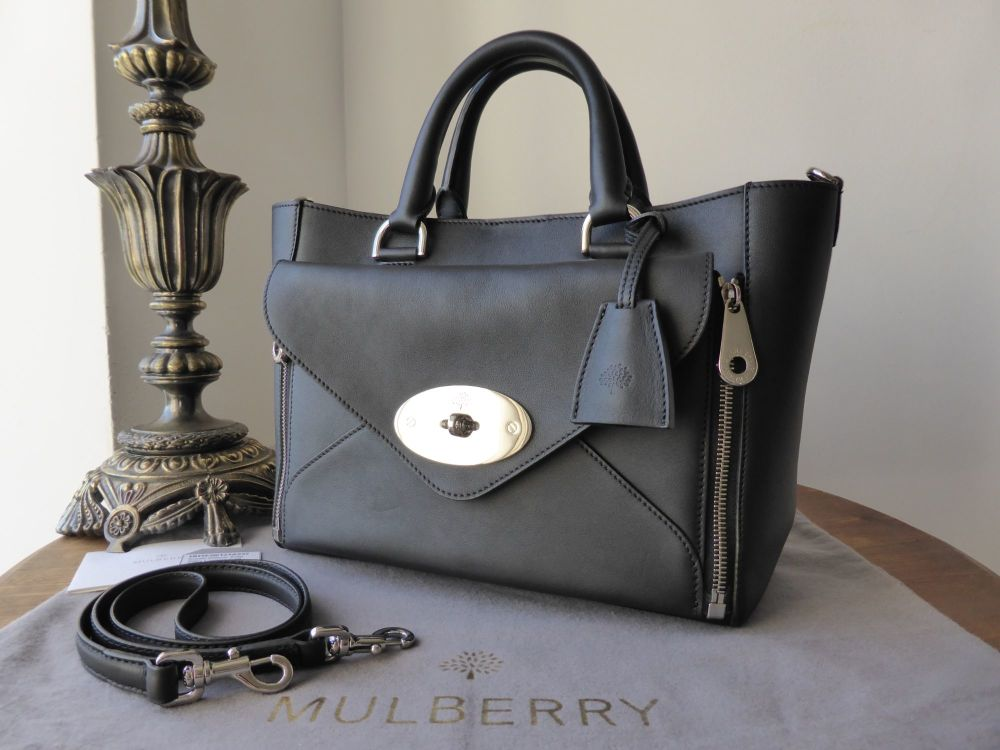 Mulberry Small Willow in Black Classic Calf with Silver Nickel Hardware - A