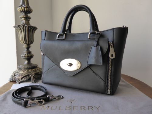 7b3e0744c956 Mulberry Small Willow in Black Classic Calf with Silver Nickel Hardware - A