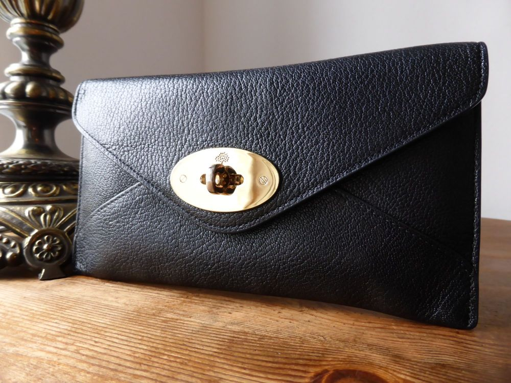 Mulberry Envelope Wallet / Purse in Black Glossy Goat Leather with Gold Har
