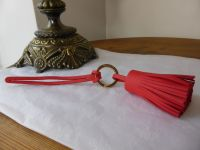 Mulberry Tassle Keyring Bag Charm in Hibiscus Lamb Nappa Leather