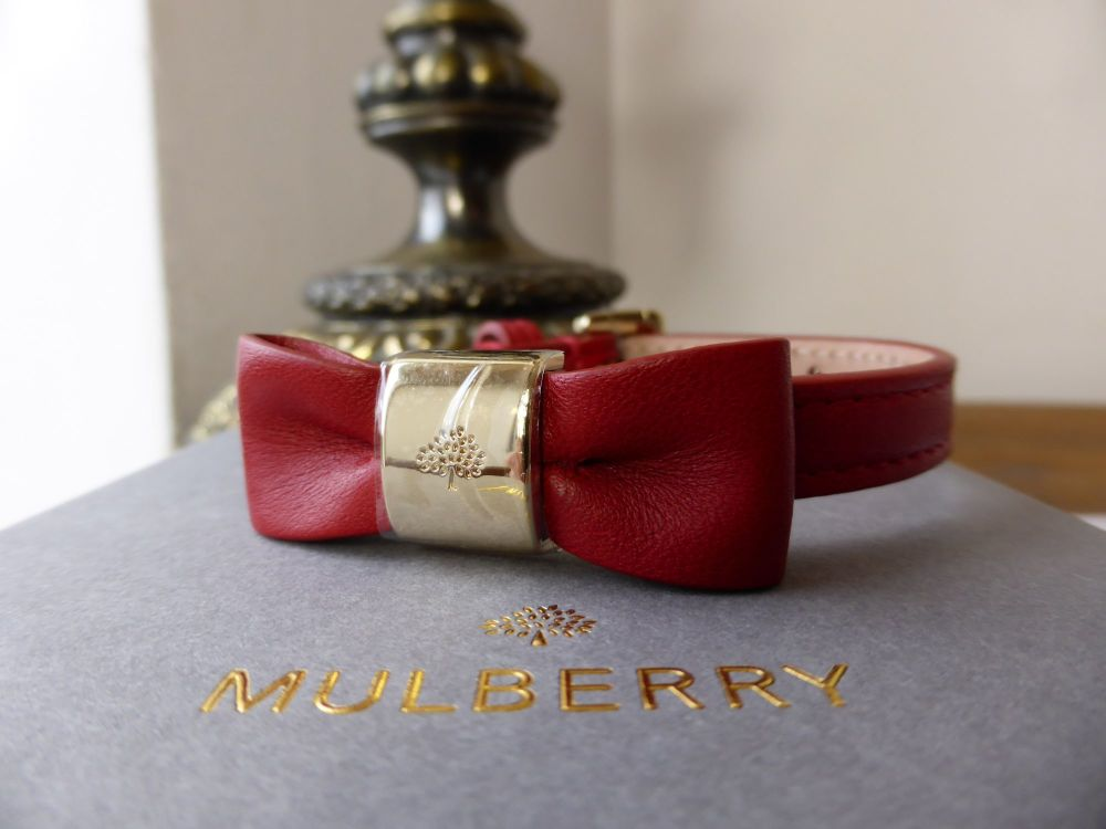 Mulberry Bow Bracelet in Red Lamb Nappa with Shiny Gold Tone Hardware