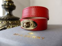 Mulberry Bayswater Wrap Bracelet Cuff in Bright Red Glossy Goat with Shiny Gold Tone Hardware - New