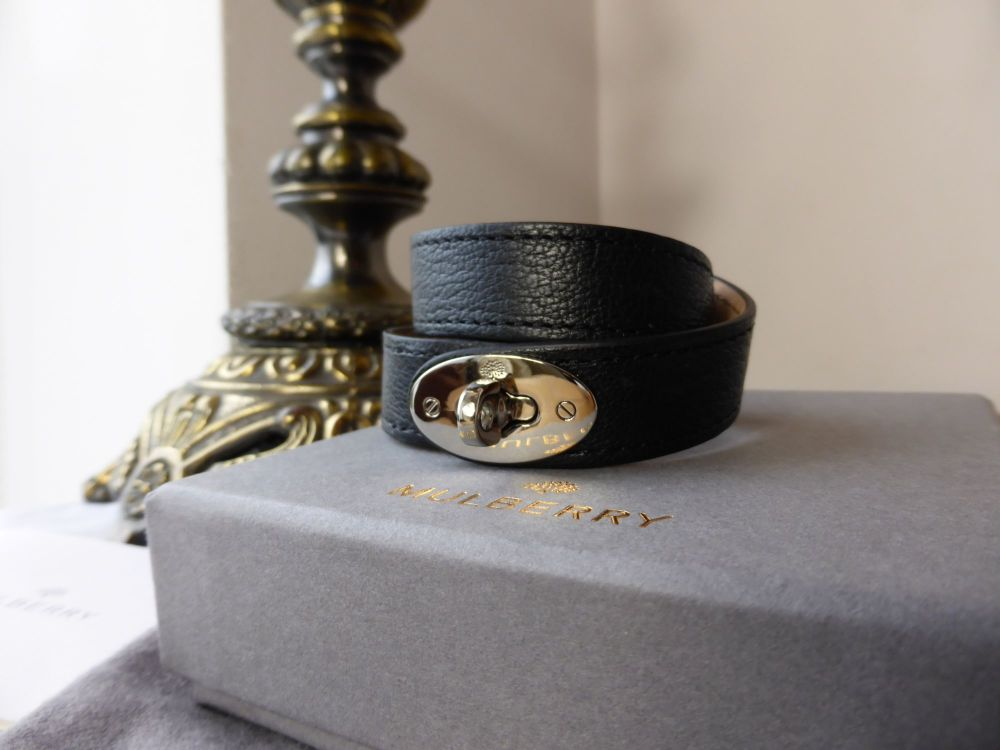 Mulberry Bayswater Wrap Bracelet Cuff in Black Glossy Goat with Silver Nick