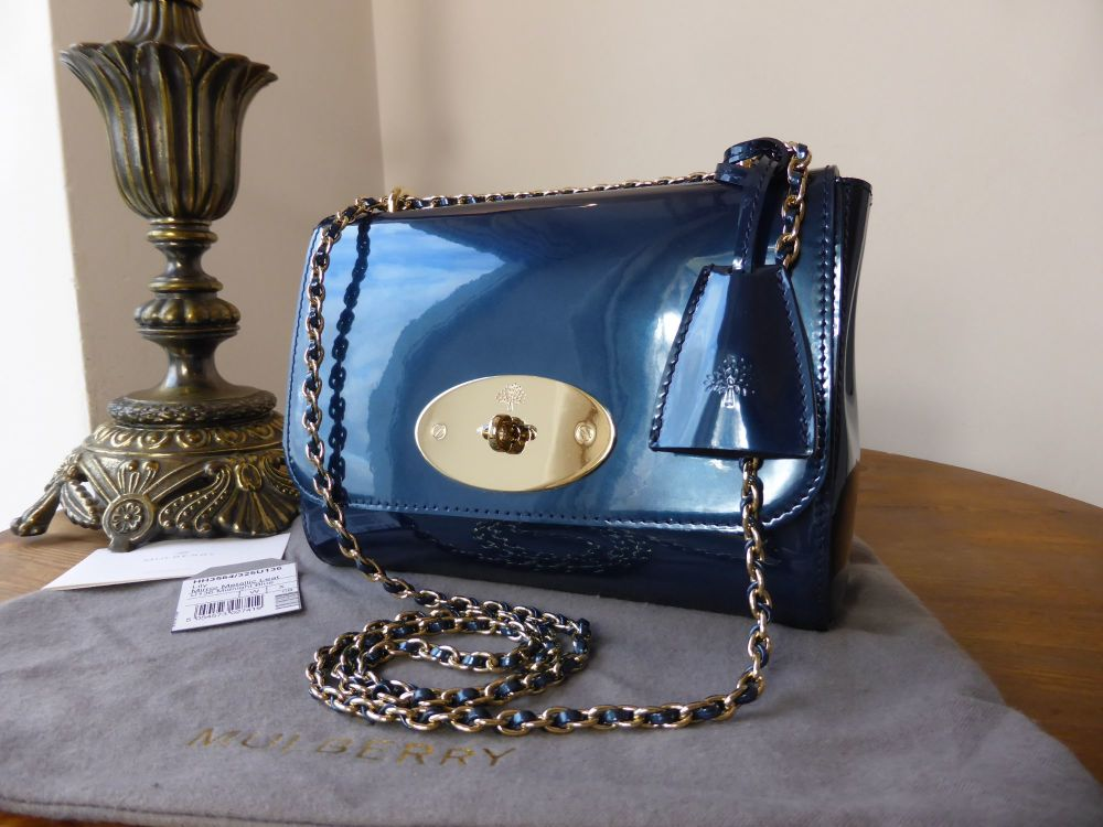 89a4a05cb6 ... buy mulberry lily regular size in midnight blue mirror metallic leather  sold 0b539 69d3c