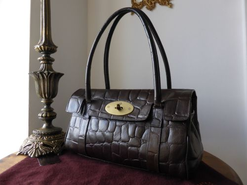 4f75de2f0c10 Mulberry East West Bayswater in Chocolate Printed Leather - SOLD