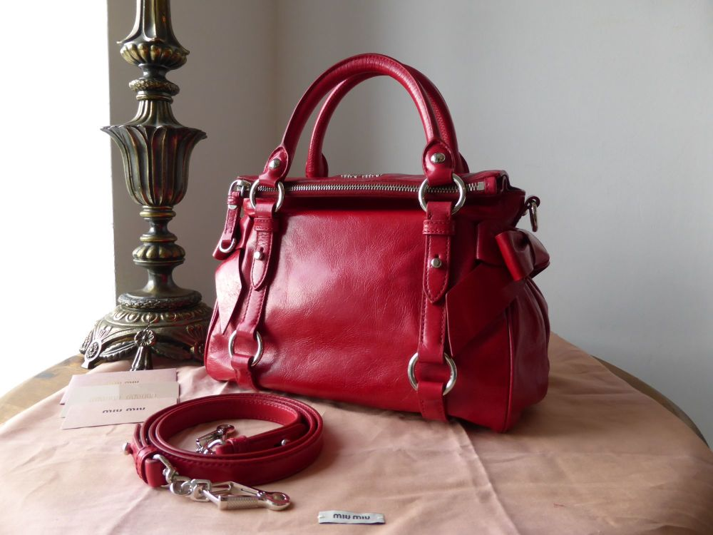 Miu Miu Bow Bauletto in Cherry Vitello Shine - New*
