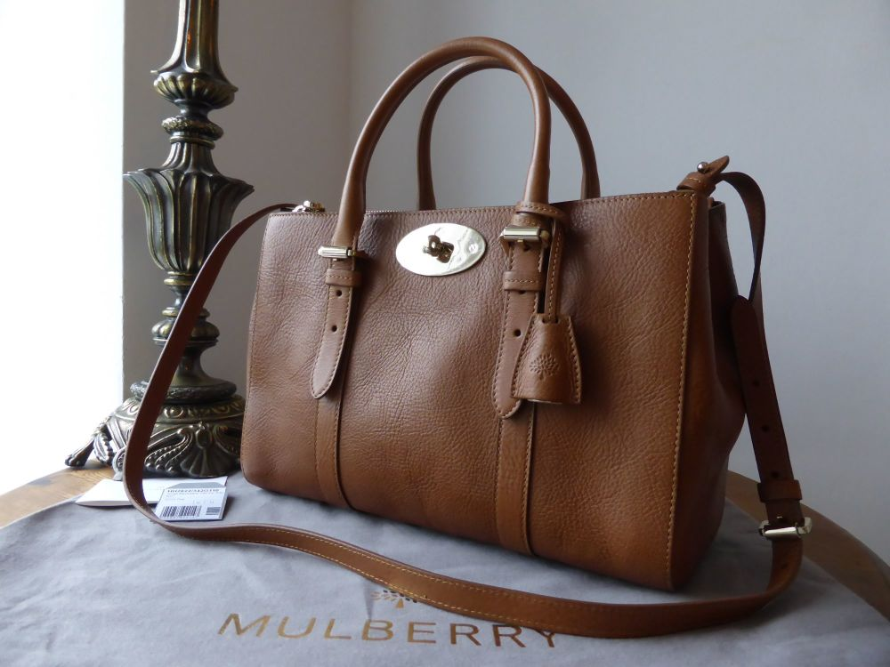 Mulberry Small Bayswater Double Zip Tote in Oak Natural Leather - New*