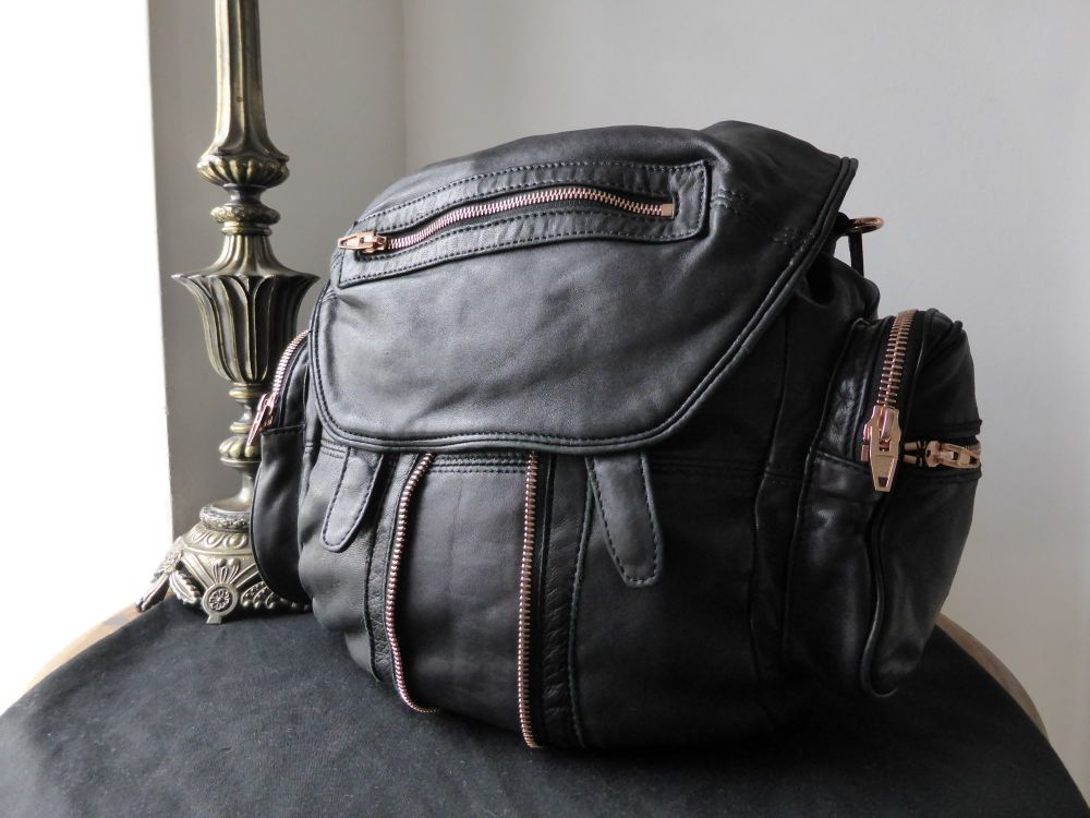 Alexander Wang Marti Backpack in Black Lambskin with Rose Gold Hardware
