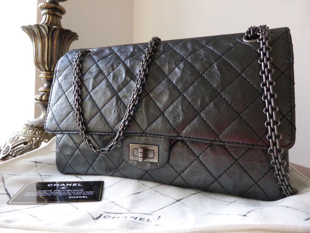 Chanel 226 Reissue Mademoiselle Flap in Metallic Black Calfskin with Ruthen