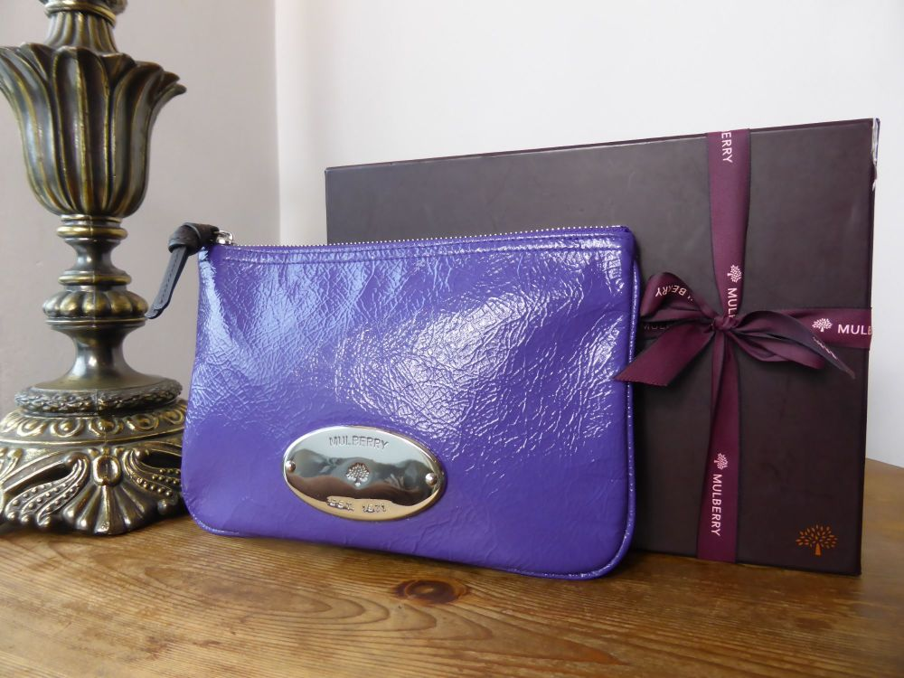 Mulberry Mitzy Zip Pouch in Blueberry Creased Patent