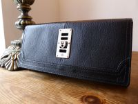 Mulberry Maggie Continental Purse in Black Grainy Goatskin with Silver Hardware